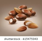 vector handful of whole and cut ... | Shutterstock .eps vector #615475343