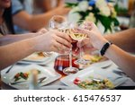 the guests keeping glass of... | Shutterstock . vector #615476537