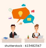 business man and business woman ... | Shutterstock .eps vector #615482567