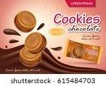 sandwich chocolate cookies... | Shutterstock .eps vector #615484703