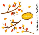 autumn set with branches of... | Shutterstock .eps vector #615488033