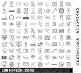 100 hi tech icons set in... | Shutterstock .eps vector #615541463