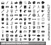 100 creative idea icons set in... | Shutterstock .eps vector #615542417