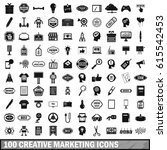 100 creative marketing icons... | Shutterstock .eps vector #615542453