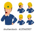 set of worker using walkie... | Shutterstock .eps vector #615563507