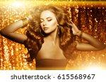 golden beautiful fashion woman  ... | Shutterstock . vector #615568967
