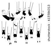 women swinging on swing set... | Shutterstock .eps vector #615586313
