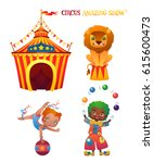 circus cartoon characters set.... | Shutterstock .eps vector #615600473
