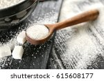 wooden spoon with white... | Shutterstock . vector #615608177
