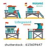 vector set of cartoon lifeguard ... | Shutterstock .eps vector #615609647