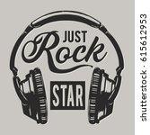 music rock headphones ... | Shutterstock .eps vector #615612953