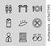 set of 9 dinner outline icons... | Shutterstock .eps vector #615627593