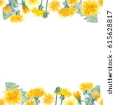 watercolor dandelion flowers... | Shutterstock . vector #615628817
