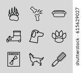 dog icons set. set of 9 dog... | Shutterstock .eps vector #615629027