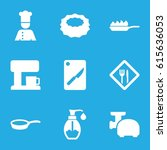 kitchen icons set. set of 9... | Shutterstock .eps vector #615636053