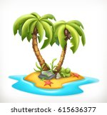 tropical island  3d vector icon