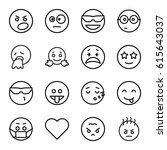 emotion icons set. set of 16... | Shutterstock .eps vector #615643037