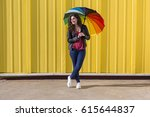 young woman having fun with a... | Shutterstock . vector #615644837
