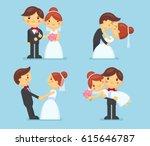 wedding couple collection.... | Shutterstock .eps vector #615646787
