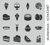 delicious icons set. set of 16... | Shutterstock .eps vector #615652487