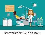 flat scene dental office with... | Shutterstock .eps vector #615654593