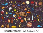 set for summer picnic from... | Shutterstock .eps vector #615667877