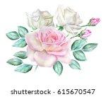 watercolor roses | Shutterstock . vector #615670547