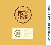 pastry and bakery logo. brown... | Shutterstock .eps vector #615674807