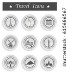 stickers and icons of travel. ...   Shutterstock . vector #615686567