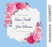 wedding floral template... | Shutterstock .eps vector #615688307