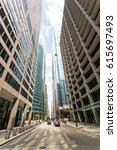 bottom view between skyscrapers | Shutterstock . vector #615697493