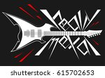 logo electronic guitar in style ... | Shutterstock .eps vector #615702653