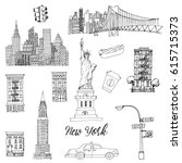 new york. hand drawn vector set | Shutterstock .eps vector #615715373