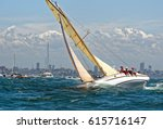 sailing ship yachts with white... | Shutterstock . vector #615716147