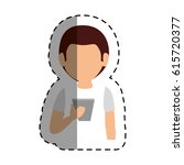 young man with smartphone... | Shutterstock .eps vector #615720377