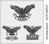 raven heraldry coat of arms.... | Shutterstock .eps vector #615726947