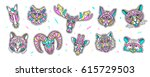 set of fashion animal patches.... | Shutterstock .eps vector #615729503