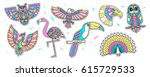 set of fashion bird patches.... | Shutterstock .eps vector #615729533