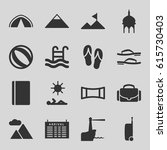 tourism icons set. set of 16... | Shutterstock .eps vector #615730403