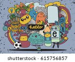 hipster hand drawn crazy doodle ...   Shutterstock .eps vector #615756857