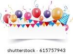 birthday celebration banner | Shutterstock . vector #615757943
