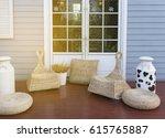 door on blue wooden wall with... | Shutterstock . vector #615765887