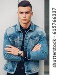 stylish guy standing  street in ... | Shutterstock . vector #615766337
