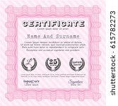 pink diploma template. printer... | Shutterstock .eps vector #615782273