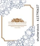 invitation with floral... | Shutterstock .eps vector #615790637