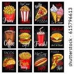 fast food restaurant menu... | Shutterstock .eps vector #615796613