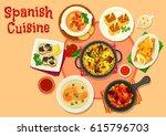 spanish cuisine healthy dinner...   Shutterstock .eps vector #615796703