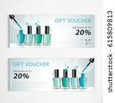 gift voucher colorful nail... | Shutterstock .eps vector #615809813