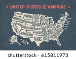 poster map of united states of... | Shutterstock . vector #615811973