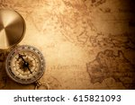 retro compass with vintage map | Shutterstock . vector #615821093